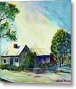 Cabin In The Evening Metal Print