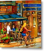Cafes With Blue Awnings Metal Print
