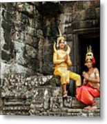Cambodian Dancers At Angkor Thom Metal Print