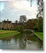 Cambridge Clare College Stream Boat And Boys Metal Print