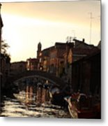 Canal In Venice At Sunset Metal Print