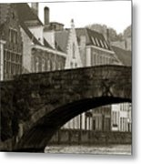 Canal View Of Bruges Metal Print