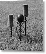 Candles In Grass Metal Print