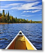 Canoe Bow On Lake Metal Print