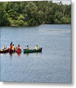 Canoes On Lake Metal Print by Blink Images