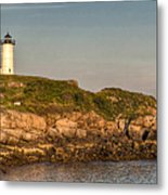 Cape Neddick Lighthouse Island In Evening Light - Panorama Metal Print by At Lands End Photography