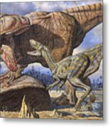 Carcharodontosaurus Guards Its Kill Metal Print