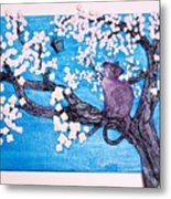 Cat Among The Cherry Blossoms Metal Print