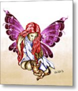 Cat Fairy In Purple  Metal Print