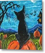 Cat In Pumpkin Patch Metal Print by Paintings by Gretzky