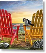 Cat Nap At The Beach Metal Print by Debra and Dave Vanderlaan