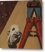 Cat Skull And Bolt Cutter Metal Print