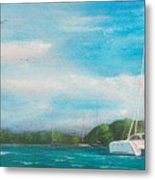 Catamaran In Salinas Harbor Metal Print