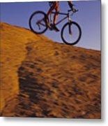 Caucasian Male Mountain Biking Metal Print by Bobby Model