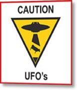 Caution Ufos Metal Print by Pixel Chimp