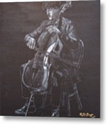 Cello Player Metal Print