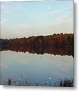 Centennial Lake Autumn - Reflective Moon Over The Lake Metal Print