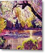 Central Park Spring Pond Metal Print by David Lloyd Glover