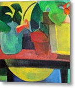 Cezanne Potting Stand Metal Print by Betty Pieper