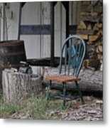 Chair In The Shed Metal Print