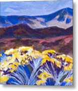 Chamisa And Mountains Of Santa Fe Metal Print