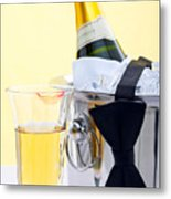 Champagne Black Tie And Lipstick Metal Print by Richard Thomas