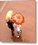 Chatting In The Rain - Umbrellas Series 1 Metal Print