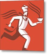 Chef Cook Baker Running With Soup Bowl Metal Print