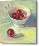 Cherries In A Cup On A Sunny Day Painting Metal Print