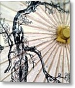 Cherry Blossom Parasol  Metal Print
