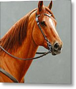 Chestnut Dun Horse Painting Metal Print