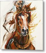 Cheval Arabe Monte En Action Metal Print