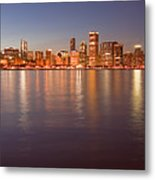 Chicago Dusk Skyline Panoramic  Metal Print