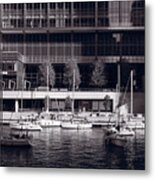 Chicago River Boats Bw Metal Print