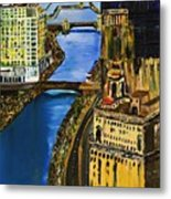 Chicago River Skyline Metal Print