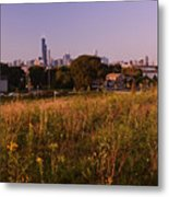 Chicago Skyline And Neighborhood Prairie Metal Print