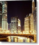 Chicago State Street Bridge At Night Metal Print