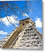 Chichen Itza And Tree Metal Print