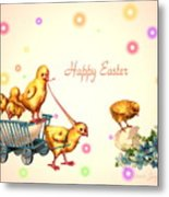 Chicks And Eggs - Happy Easter Metal Print