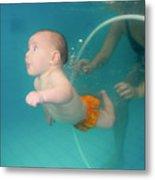 Child Swims Underwater  Metal Print