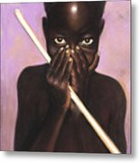 Child With Stick Metal Print by L Cooper