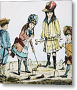 Children Playing Croquet Metal Print by Granger