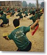 Children Practice Kung Fu In A Field Metal Print