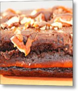 Chocolate Brownie With Nuts Dessert Metal Print