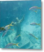 Christ Of The Deep Statue In A Coral Metal Print