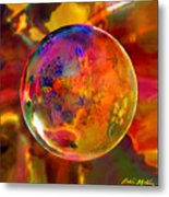 Chromatic Floral Sphere Metal Print
