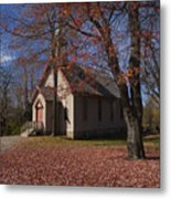 Church And Fall Foliage In Eckley Village Metal Print