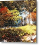 Church In The Woods Metal Print by Gina Cormier