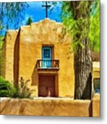 Church With Blue Door Metal Print