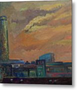 Cityscape With Tower Metal Print